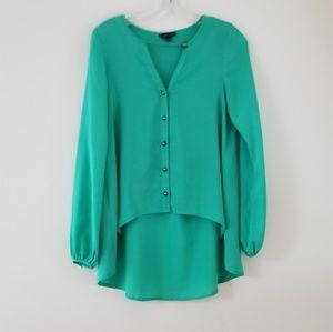 Naked Zebra Green high-low button up blouse